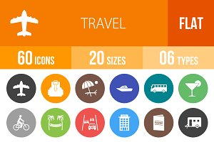 60 Travel Flat Round Icons