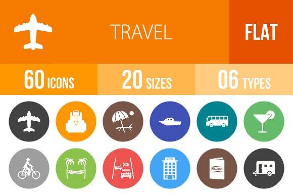 60 Travel Flat Round Icons