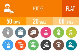 50 Kids Flat Round Icons