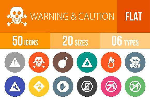 50 Warning Flat Round Icons