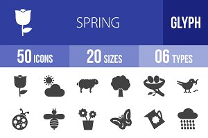 50 Spring Glyph Icons
