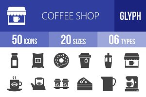 50 Coffee Shop Glyph Icons
