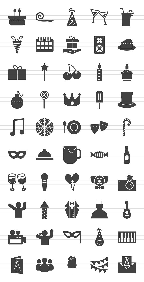 50 Birthday Glyph Icons