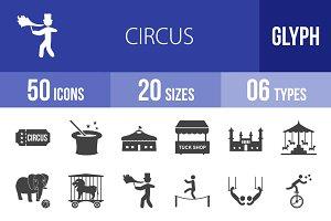 50 Circus Glyph Icons