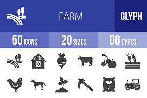 50 Farm Glyph Icons