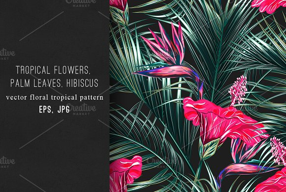 Tropical Flowerspalm Leaves Pattern Graphic Patterns Creative