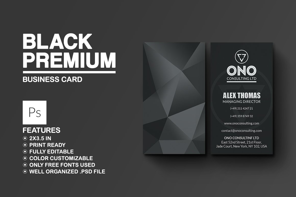 Black Premium Business Card ~ Business Card Templates ~ Creative Market