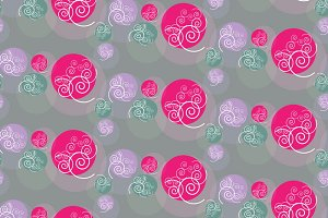 Seamless circles and swirls pattern