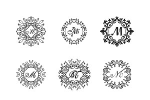Luxury monogram template vector