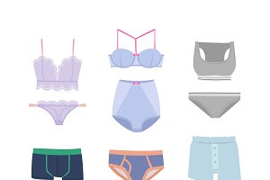Underwear isolated vector set