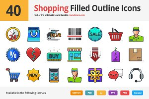 40 Shopping Filled Outline Icons