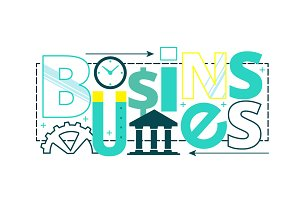 Business word collage composition