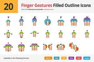 20 Finger Gestures Filled Line Icons
