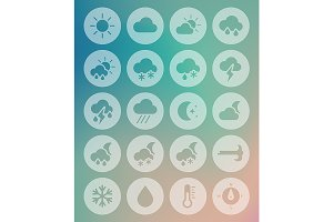 Meteorology Weather flat icons set