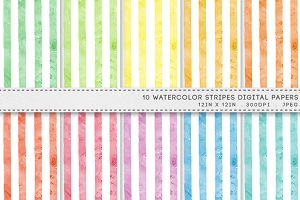 Watercolor Stripes Digital Paper