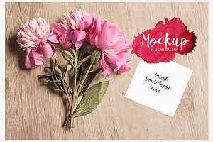 Square Card Mockup With Peonies