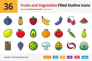 36 Fruit and Vegetable Filled Icons