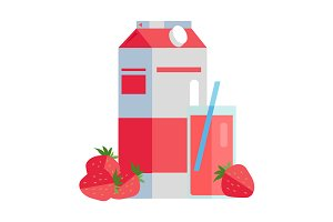 Paper Pack of Strawberry Juice