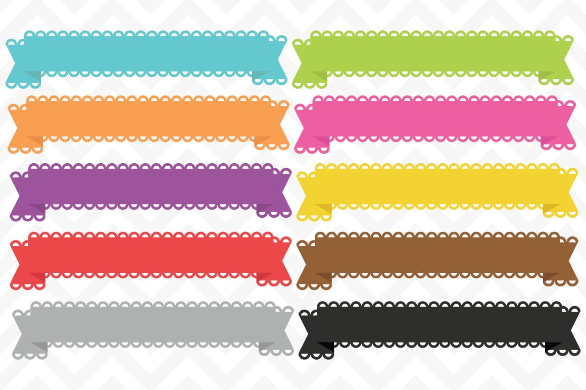 Clip Art Lace Banner Ribbon Vectors Objects Creative Market