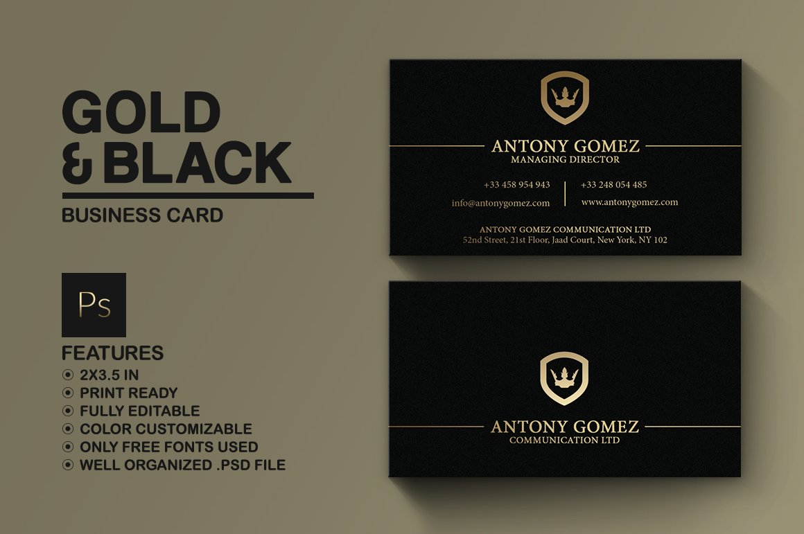 Simple gold and black business card business card templates simple gold and black business card business card templates creative market reheart Image collections