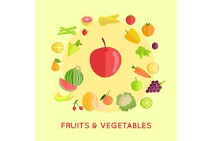 Set of Fruits Vegetables