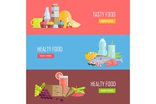Set of Tasty and Healthy Food