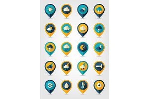 Weather pin map flat icons set