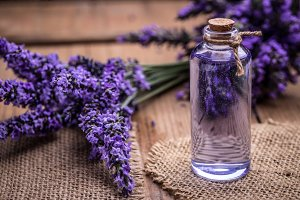 Lavender oil in a glass bottle