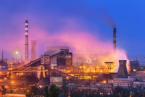 Industrial landscape. Steel factory