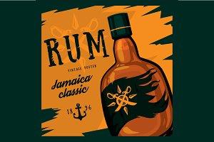 Rum or rhum glass bottle - poster