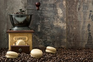 Coffee macaroons and coffee grinder