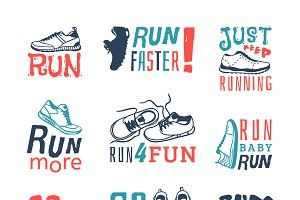 Run sport motivation vector set