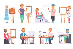 Creative people vector set