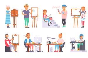 Creative people vector set