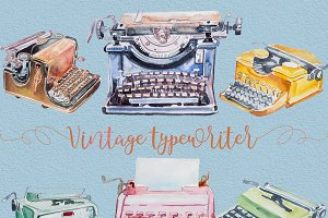 Watercolor  Typewriter Clipart