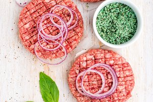 Raw ground beef meat cutlet