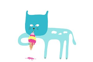 Cat eating ice cream