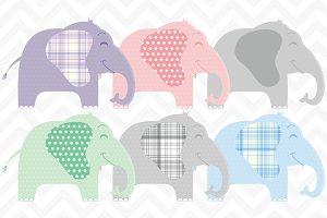 Clip Art Cute Baby Elephants Vector