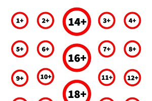 Different age restriction signs