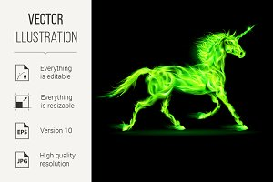 Green fire unicorn.