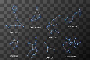 Set of bright zodiac constellations