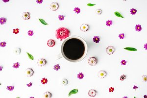 Coffee mug and floral pattern