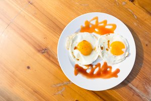 Fried egg breakfast plate