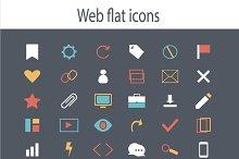 Icon set flat design blue