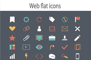 Icon set flat design blue