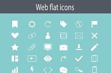 Flat icon set, white color