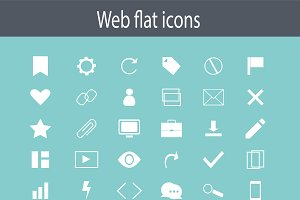 Flat icon set, white color