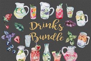 Watercolor Drinks Bundle