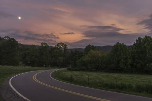 Sunset along North Carolina Road