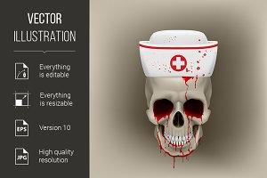 Bleeding skull in nurse cap